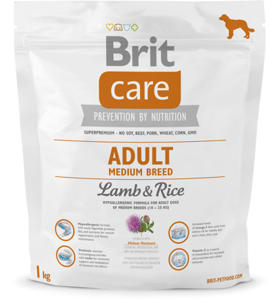 Корм для собак Brit Care Adult Medium Breed Lamb and Rice, 1 кг