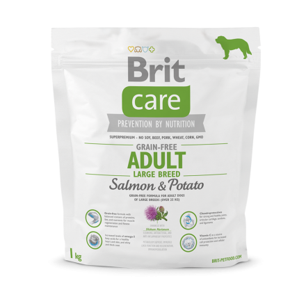 Корм для собак Brit Care Grain-free Adult Large Breed Salmon & Potato, 1 кг
