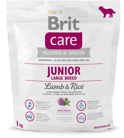 Корм для собак Brit Care Junior Large Breed Lamb & Rice, 1 кг