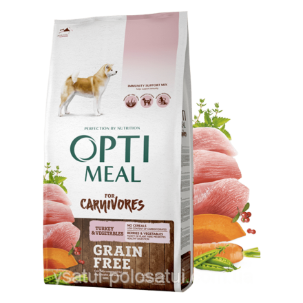 Корм для собак Optimeal Dog Adult Grain Free Turkey & Vegetables, 10 кг