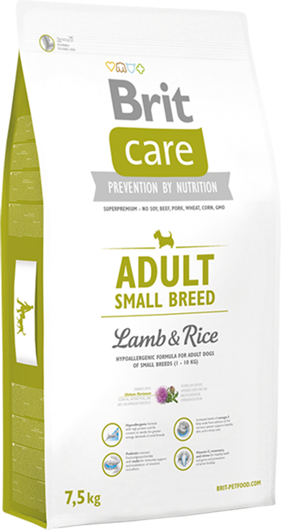 Корм для собак Brit Care Adult Small Breed Lamb and Rice, 7,5 кг