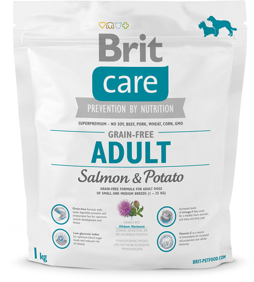 Корм для собак Brit Care Grain-free Adult Salmon & Potato, 1 кг